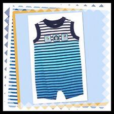 """NWT 6-12 Gymboree """"LEMUR LAGOON"""" Ombre Striped ROMPER 1-Piece outfit BLUE Cotton"""