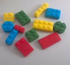 32 Edible Sugarpaste Lego Bricks Cupcake/Birthday Cake Toppers- BOYS - Colourful