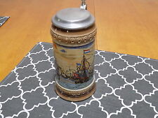 VINTAGE GERMAN DECORATIVE SAILING SHIPS BEER STEIN / MARZI & REMY GERMANY