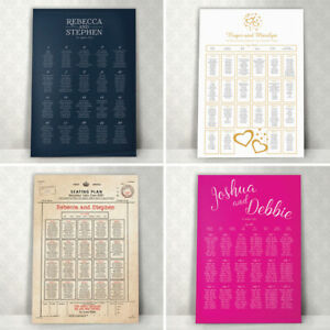 Personalised Wedding Table Seating Plan ~ Canvas~Board~Paper ~ 120+Designs- KW3