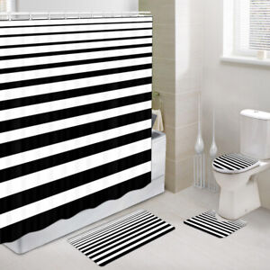 Gradient black and white stripes Shower Curtain Toilet Cover Rug Mat Contour Rug