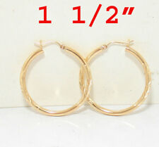 Diamond Cut Sparkly Hoop Earrings 14K Yellow Gold 1.5""