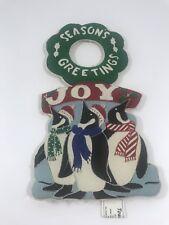 Season Greetings Joy Penguins Christmas Holiday Fabric Door Knocker Home Decor