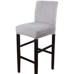 Velvet Plush Bar Chair Cover High Elastic Stool Chair Protector Seat Slipcover