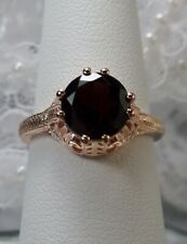Victorian Red Garnet Sterling Silver & Rose Gold Filigree Ring {made To Order}