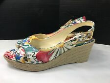 Franco Sarto Size 8 Medium Wedge Open Toe Sandal Floral L-Comedy Lke New!!!