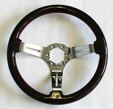 "Corvette Dark Wood Steering Wheel 14"" Direct Bolt on Telescopic Tilt column"