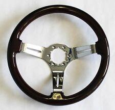 """Corvette Dark Wood Steering Wheel 14"""" Direct Bolt on Telescopic Tilt column"""
