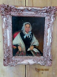 ANTIQUE FRAMED OIL PAINTING of  RUSSIAN WOMAN  SIGNED & DATED 1847