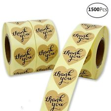 """1500 Thank You Sticker Heart Shaped Adhesive Label Gold Stickers 1.5"""" Decorative"""
