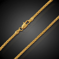 18K Goldkette Königskette vergoldet lang 50cm 2MM dünne Damen Herren Halskette