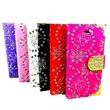 For SAMSUNG GALAXY S5 S6 S7 S7Edge LEATHER BLING DIAMOND WALLET BOOK CASE COVERS