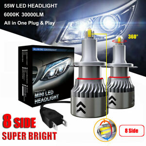 8 Sides 110W 30000LM H7 360° Car Canbus LED Headlight Lamp Kit Xenon White 6000K