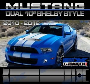 "2011 Ford Mustang Factory Style GT 500 Rally Stripes Dual 10"" #1 Dealer Quality"