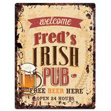PMBP0071 FRED'S IRISH PUB Rustic tin Sign PUB Bar Man cave Decor Gift