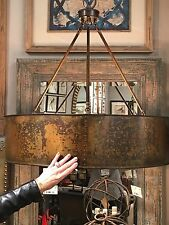 "NEW RUSTIC 30"" GOLDEN GALVANIZED FINISH HANGING SHADE PENDANT CHANDELIER LIGHT"