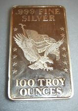 VERY RARE 100 Oz U S Assay Office Silver Bar .999 Fine San Francisco Or New York