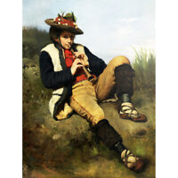 Ajdukiewicz The Shepherd Boy Flute Painting Canvas Art Print Poster