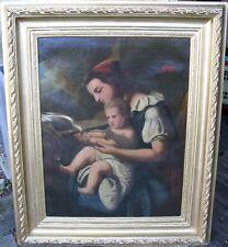 Küpper Friedrich Gemälde Düsseldorf ~1860 - Mutter und Kind füttern eine Taube