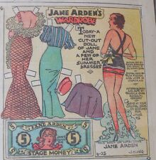 Jane Arden Sunday with Large Uncut Paper Doll from 6/25/1933 Full Size Page!
