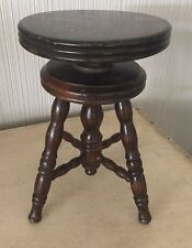 Antique Doll Or SALESMAN SAMPLE WOOD ADJUSTABLE STOOL PIANO Bench
