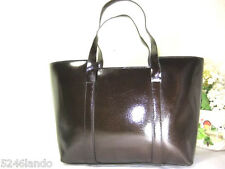 GUCCI Lustrous Brown  Glossy Boar Pig's Skin Leather Small Tote Hand Bag Italy