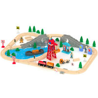 Wooden Train Set 80 PCS Busy Cargo Railway Track Construction Toy All Compatible