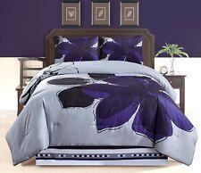 4Pc CAL King Size Navy Blue Gray Black Floral Comforter Set Bedding