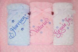Personalised Luxury Rose fur / Dimpled / Fleece Baby Blanket Script font