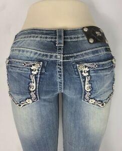 Miss Me Ankle Skinny Low Rise Stretch Buckle Women's Denim Jeans 26 x 30