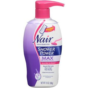 Nair Hair Remover Shower Power Max Legs Body Cream Sponge Lavender Vita E 13 oz