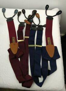 TRAFALGAR Navy and Burgundy 2 Pairs SUSPENDERS BRACES Leather Lot Textured Silk