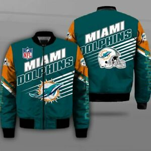 Miami Dolphins Pilot Bomber Jacket Wind Breaker Zip Up Thick Warm Coat Outwear
