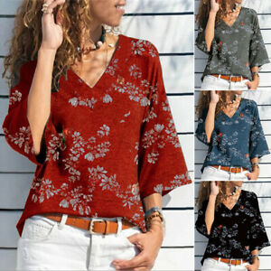 Women's Deep V Neck Boho Floral T-shirts Blouse Ladies Baggy 3/4 Sleeve Pullover