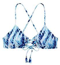 NWT Victorias Secret Swim Smocked Lace-Up Bralette Bikini Top Blue Tie Dye M