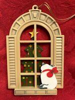 Vintage Holiday Window Ornament, Cat Christmas Tree 1984 Avon Gallery Originals