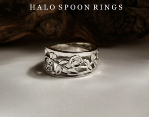 SWEDISH SOLID SILVER SPOON RING WITH TRAILING ROSE DETAIL GAB 1979 LIMITED STOCK