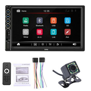 "Double 2DIN 7"" Car MP5 Player Bluetooth Touch Screen Stereo Radio USB AUX Camera"