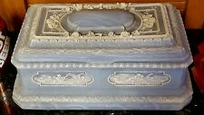 Lrge Light Blue Incolay Stone Jewelry Box Coffin HAND CRAFTED 3D Cherubs Roses+