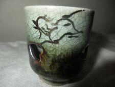 """VINTAGE JAPAN 2"""" SOMAYAKI CRACKLE GLAZE GOLD RUNNING HORSE SAKI CUP SHOT GLASS"""