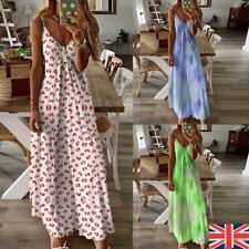 Plus Size Women's Summer Floral Long Dress Ladies Boho Beach Holiday Maxi Dress