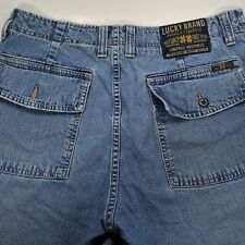 Lucky Brand Mens Vintage Blue Jean Shorts Denim Flap Pockets Made In USA 33
