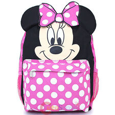 "Disney Minnie Mouse School Backpack 12"" Medium Bag Pink Polka Dots with Ear"