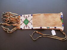 NATIVE AMERICAN BEADED PIPE BAG, AMERICAN INDIAN BEADED CHANUPA BAG,  BUF-00335