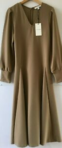 M&S Autograph Soft Brown Stretch Long Dress RRP £59 UK8, 10 or 14