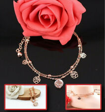 Gold Plated Chain Beautiful Fashionable Hollow Flower Inlaid Filigree Anklet