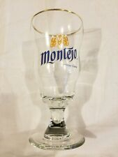 Montejo Gold Rimmed Pint Glass Cerveza Clara Never Been Used Beer Cup Rare