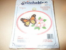 """Vintage Stitchables Needlepoint Kit - Butterfly & Blossom - Hoop n frame 7"""" x 5"""""""