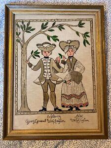 Primitive Reverse Painting On Glass, George & Lady Washington, Framed Folk Art