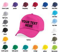 PERSONALISED CUSTOM PRINTED BASEBALL CAP, HAT, MENS, LADIES - ANY TEXT, LOGO